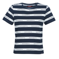 material Women short-sleeved t-shirts Superdry COTE STRIPE TEXT TEE Marine