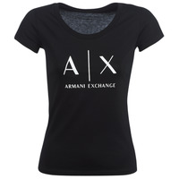 material Women short-sleeved t-shirts Armani Exchange HELBATANTE Black