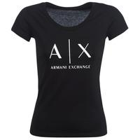 material Women short-sleeved t-shirts Armani Exchange HELBATANTE Black