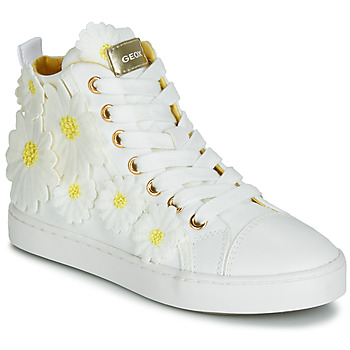 Shoes Girl High top trainers Geox JR CIAK GIRL White / Flowers / Yellow