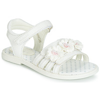 Shoes Girl Sandals Geox J SANDAL KARLY GIRL White / Flowers