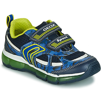Shoes Boy Low top trainers Geox J ANDROID BOY Marine / Yellow / Led