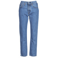 material Women straight jeans Levi's 501 CROP Blue