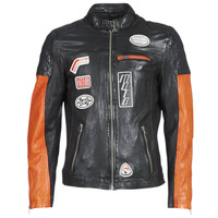 material Men Leather jackets / Imitation leather Oakwood INDIE Black / Orange