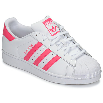 Shoes Girl Low top trainers adidas Originals SUPERSTAR J White / Pink