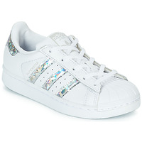 Shoes Girl Low top trainers adidas Originals SUPERSTAR C White / Silver