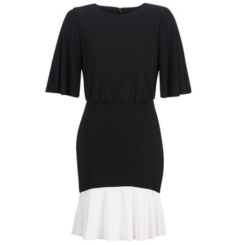 material Women Short Dresses Lauren Ralph Lauren ELBOW SLEEVE DAY DRESS Black / White
