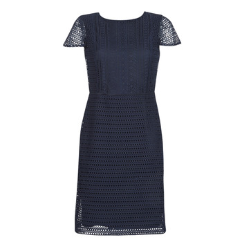 material Women Short Dresses Lauren Ralph Lauren NAVY SHORT SLEEVE DAY DRESS Marine