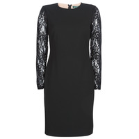 material Women Short Dresses Lauren Ralph Lauren LACE PANEL JERSEY DRESS Black