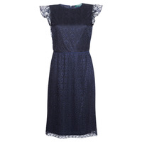 material Women Short Dresses Lauren Ralph Lauren LACE CAP SLEEVE DRESS Marine