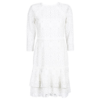 material Women Short Dresses Lauren Ralph Lauren LONG SLEEVE-LACE DAY DRESS White / Black