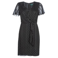 material Women Short Dresses Lauren Ralph Lauren POLKA DOT-SHORT SLEEVE-DAY DRESS Black