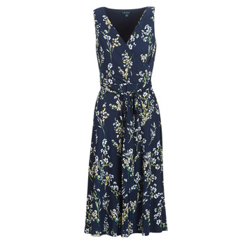 material Women Long Dresses Lauren Ralph Lauren FLORAL PRINT-SLEEVELESS-DAY DRESS Marine