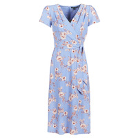 material Women Long Dresses Lauren Ralph Lauren FLORAL PRINT- SHORT SLEEVE-DAY DRESS Blue