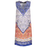 material Women Short Dresses Derhy FORTERESSE White / Blue / Orange