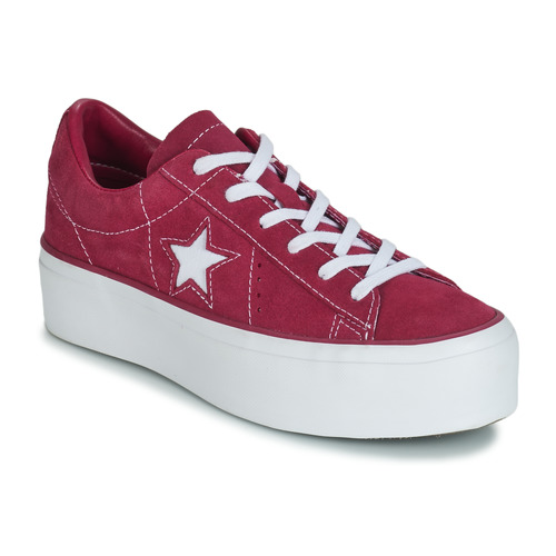 b2b63502d21 Shoes Women Low top trainers Converse ONE STAR PLATFORM SUEDE OX Fuschia    White