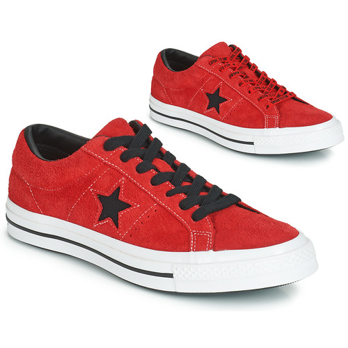 47dbdfbb04fe5c Shoes Men Low top trainers Converse ONE STAR DARK STAR VINTAGE SUEDE OX Red