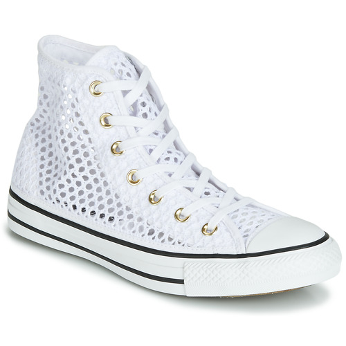 43c038937f8112 Shoes Women High top trainers Converse CHUCK TAYLOR ALL STAR HANDMADE  CROCHET HI White