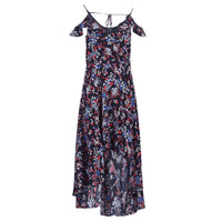 material Women Long Dresses Guess BORA Black / Multicoloured
