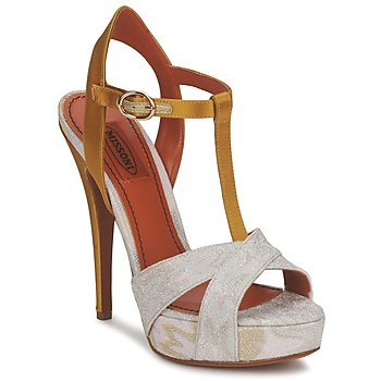 Shoes Women Sandals Missoni TM30 Gold / Silver