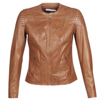 material Women Leather jackets / Imitation leather Naf Naf CLIM Cognac