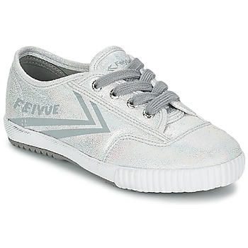 Shoes Girl Low top trainers Feiyue FE LO GLITTER Silver
