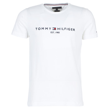 material Men short-sleeved t-shirts Tommy Hilfiger TOMMY FLAG HILFIGER TEE White