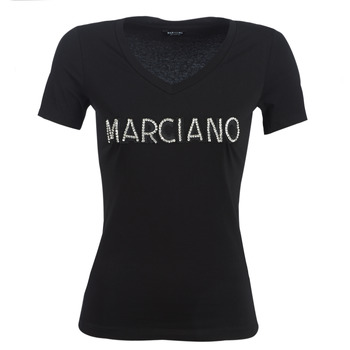 material Women short-sleeved t-shirts Marciano LOGO PATCH CRYSTAL Black