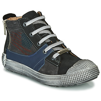 Shoes Boy High top trainers Ikks WALTER Anthracite / Blue