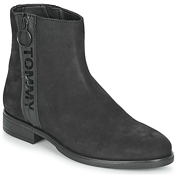 Shoes Women Mid boots Tommy Jeans TOMMY JEANS ZIP FLAT BOOT Black
