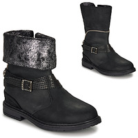 Shoes Girl Boots Ikks FLORA Black / Silver