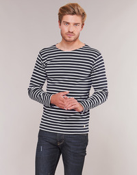 material Men Long sleeved shirts Armor Lux VERMO Marine / White