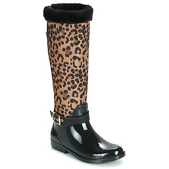 Shoes Women Wellington boots Guess CICELY Black / Leopard