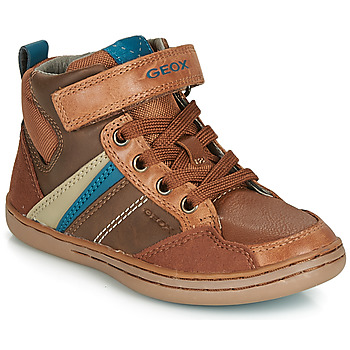 Shoes Boy High top trainers Geox JR GARCIA BOY Cognac / Blue