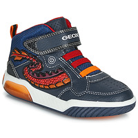Shoes Boy High top trainers Geox J INEK BOY Blue / Red / Led