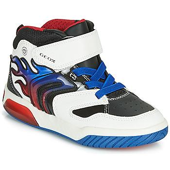 Shoes Boy High top trainers Geox J INEK BOY White / Blue / Led