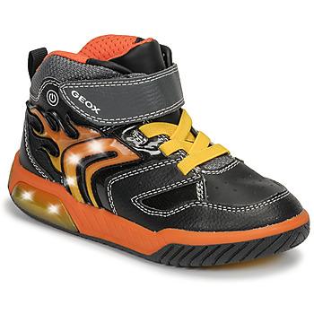 Shoes Boy High top trainers Geox J INEK BOY Black / Orange