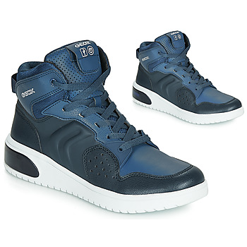 Shoes Boy High top trainers Geox J XLED BOY Blue / Led
