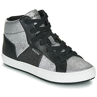 Shoes Girl High top trainers Geox J KALISPERA GIRL Black / Silver