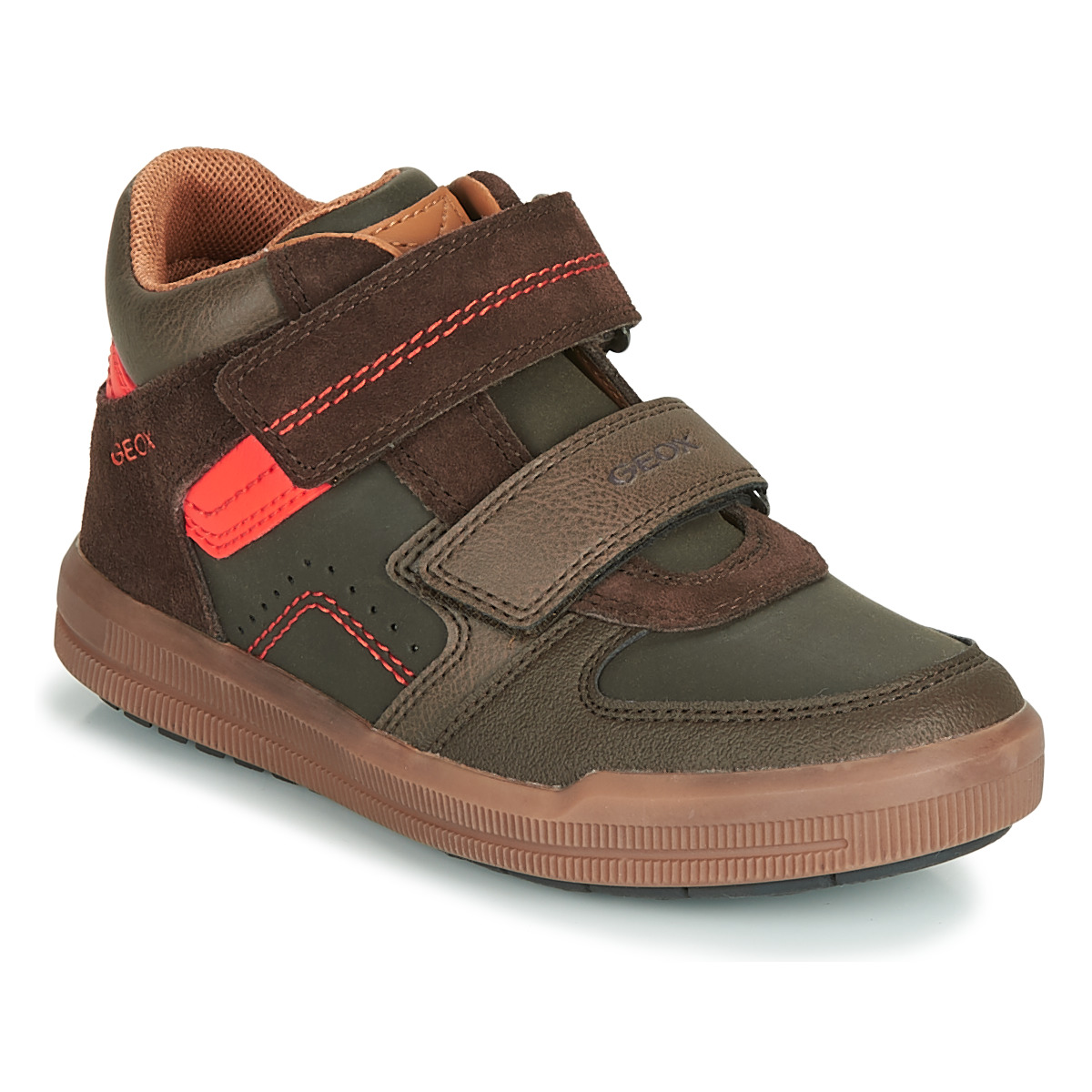 Brillar Inconsciente Económico  Geox J ARZACH BOY Brown / Orange - Fast delivery | Spartoo Europe ! - Shoes  High top trainers Child 55,20 €