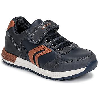 Shoes Boy Low top trainers Geox B ALBEN BOY Blue / Cognac