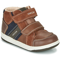 Shoes Boy High top trainers Geox B NEW FLICK BOY Brown / Blue