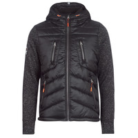 material Men Duffel coats Superdry STORM HYBRID ZIPHOOD Black