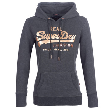 material Women sweaters Superdry VINTAGE LOGO METALWORK ENTRY HOOD Grey