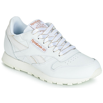 Shoes Girl Low top trainers Reebok Classic CLASSIC LEATHER J White / Glitter