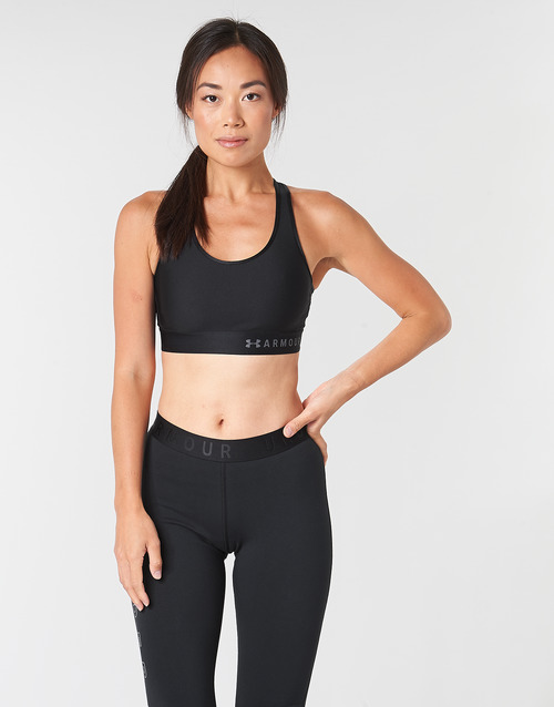 material Women Sport bras Under Armour ARMOUR MID KEYHOLE BRA Black