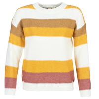 material Women jumpers Roxy TRIP FOR TWO STRIPE White / Yellow