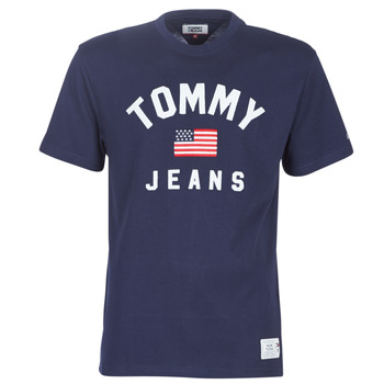 material Men short-sleeved t-shirts Tommy Jeans TJM USA FLAG TEE Marine