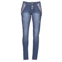 material Women straight jeans Cream DICTE Blue