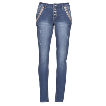 material Women straight jeans Cream DICTE Blue